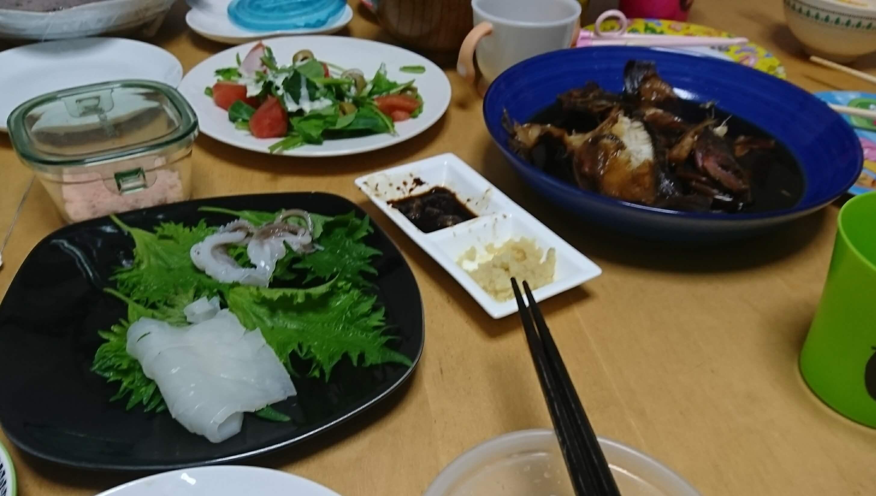 ヤリイカお刺身&カサゴ煮付け